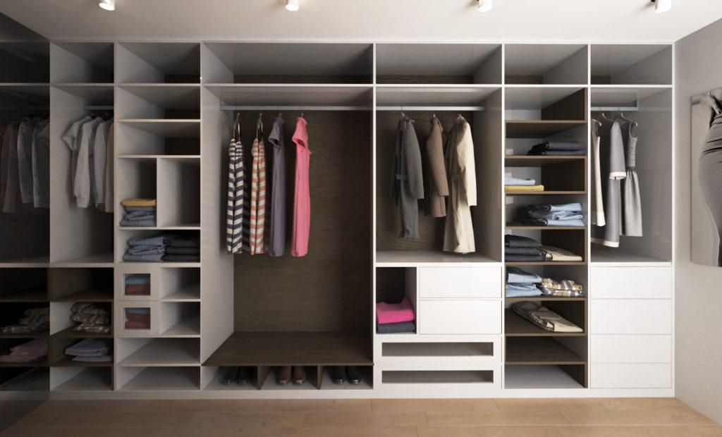 Dizajnový šatník- rozličné úložné priestory