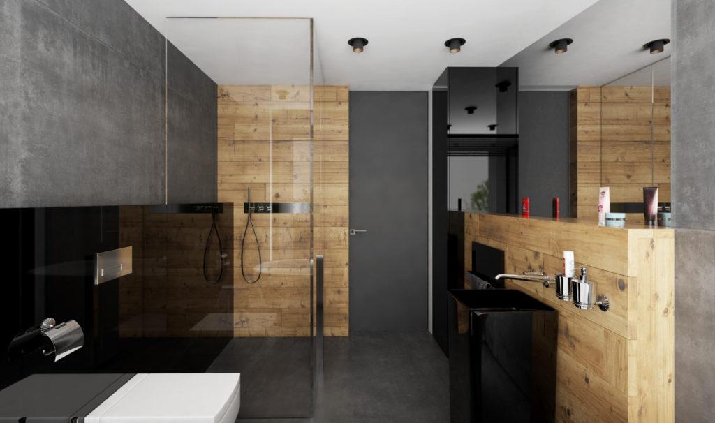 Kúpelňa- biela, šedá, drevo