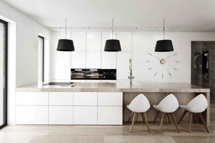 Kuchyňa drevo- biela s veĺkou pracovnou plochou na ostrove
