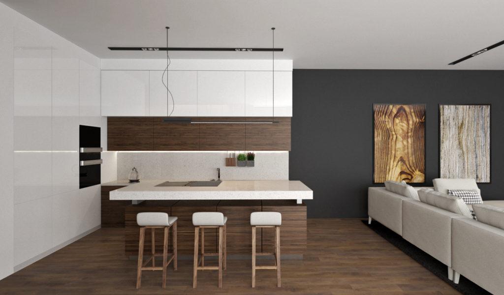 Moderná kuchyńa- biela a drevo
