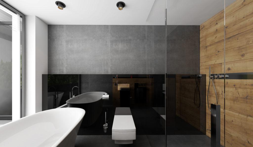 Moderná kúpelňa- čierna lesklá zástena za TV