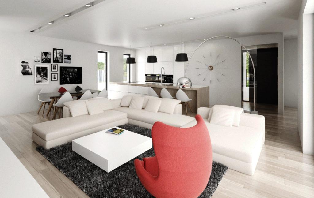 Moderný hlavný priestor rodinného domu