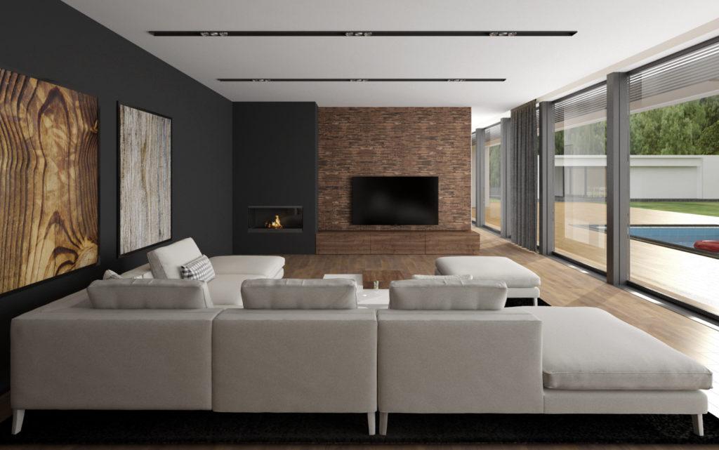 Obývacia izba- obklad za TV a krb
