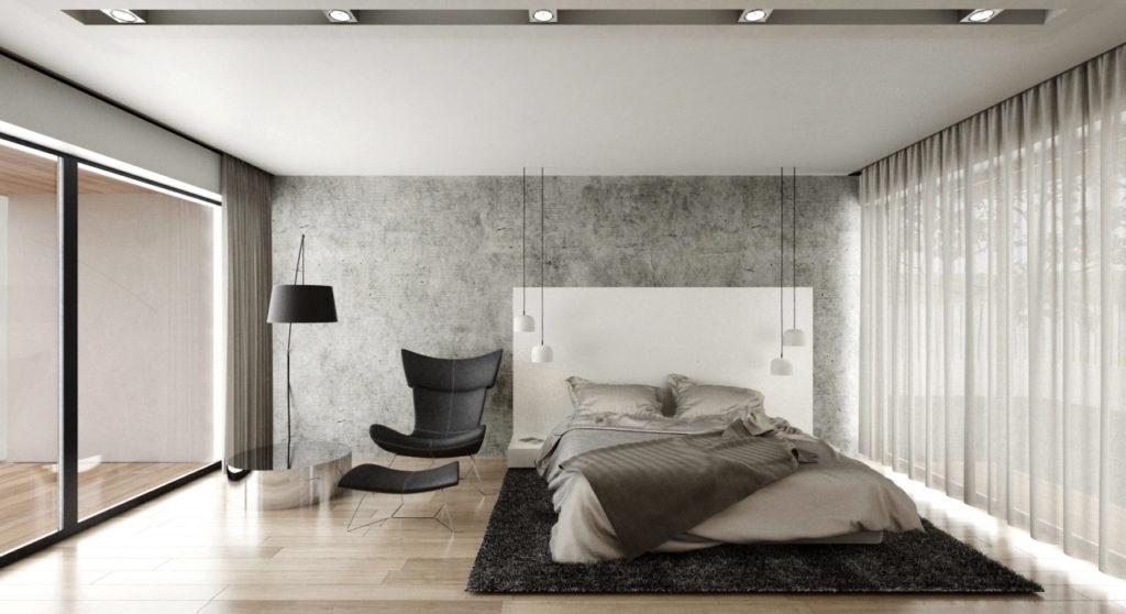 Jednoduchá spálňa s kútikom na čítanie