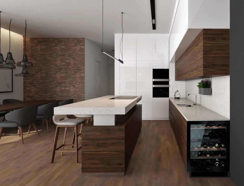 Moderná kuchyňa- zaujímavý ostrov a vínotéka