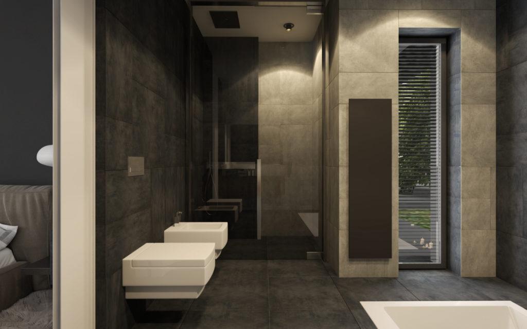 """Kúpelňa rodičov- ,,tetrisový"""" obklad"""
