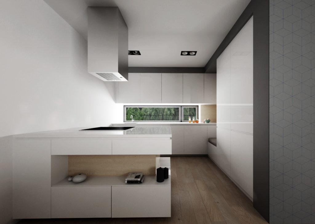 Biela kuchyňa s drevenými detailami