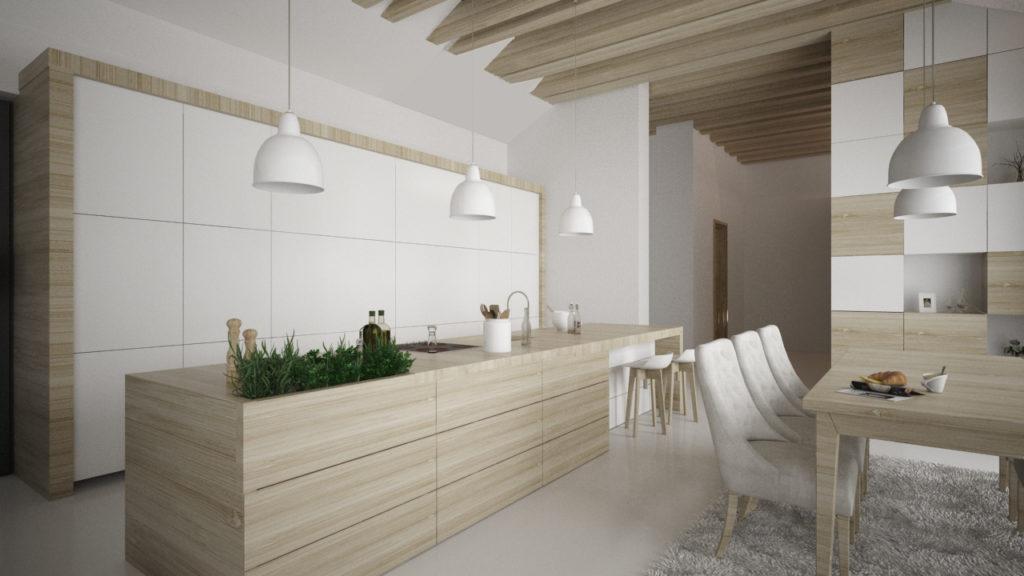 Drevo v kuchyni- priestor na bylinky v ostrove