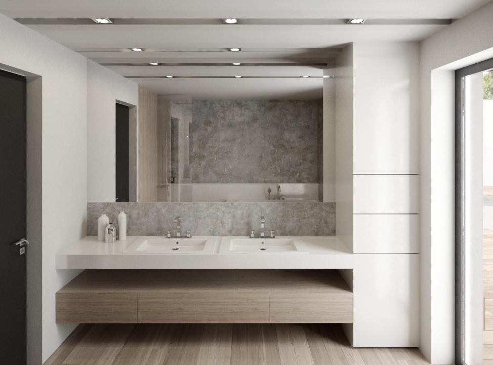 Kúpelňa- biela a drevo