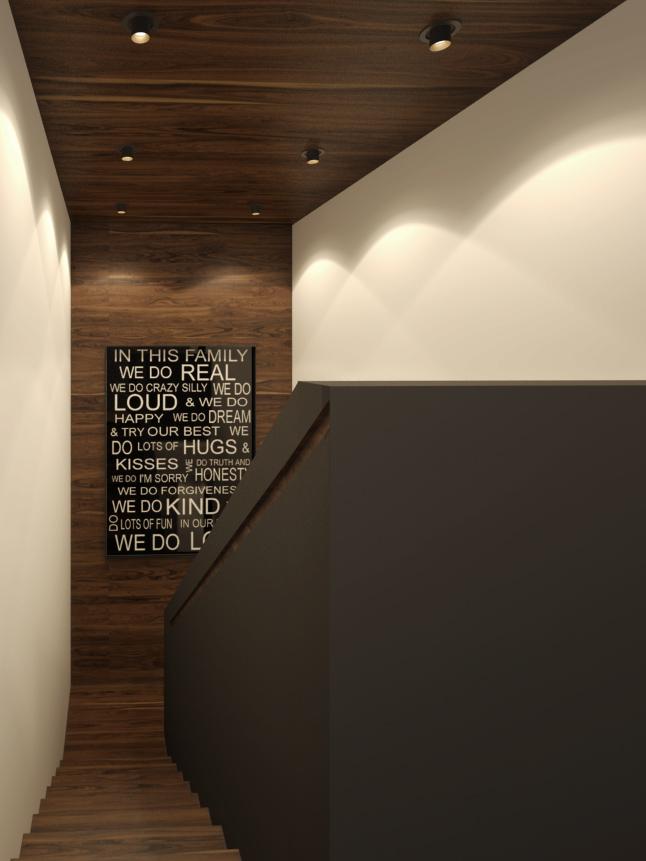 Schodisko- obklad na stene a strope, zapustené madlo v zábradlí