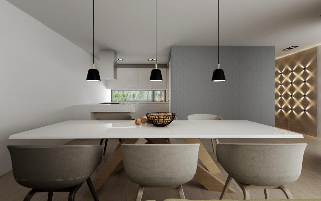 Moderný interiér kuchyne s jedálenským stolom