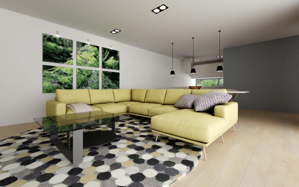 Farebná sedačka v interiéri