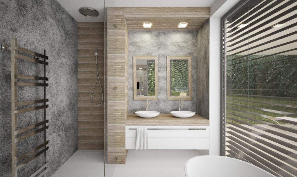 Návrh interiéru kúpelne- štruktúrovaná omietka, drevo a biela