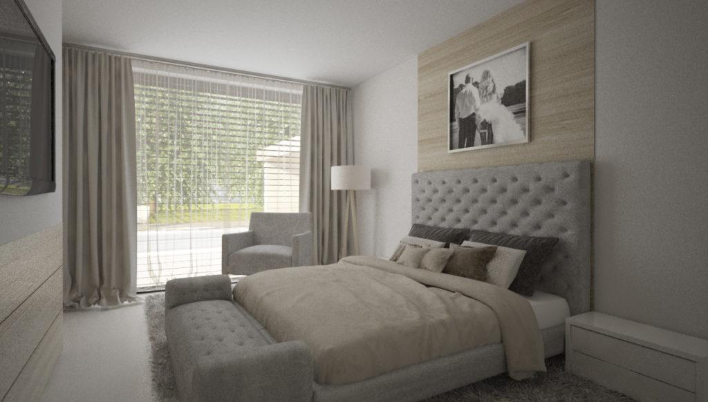 Moderná útulná svetlá spálňa