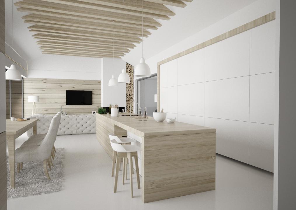 Neutrálny návrh interiéru s použitím dreva