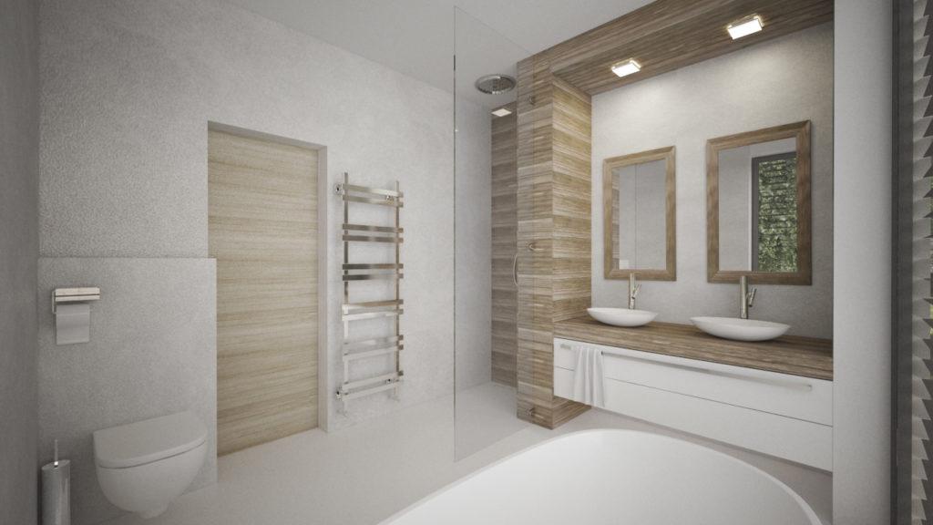 Kúpelňa- drevo a biela