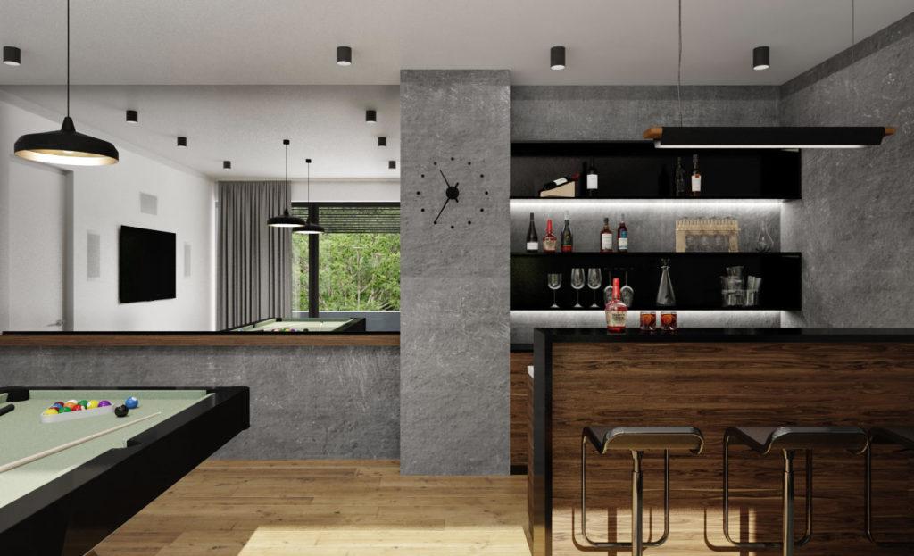 Moderná domáca hobby miestnosť s barom a biliardovým stolom