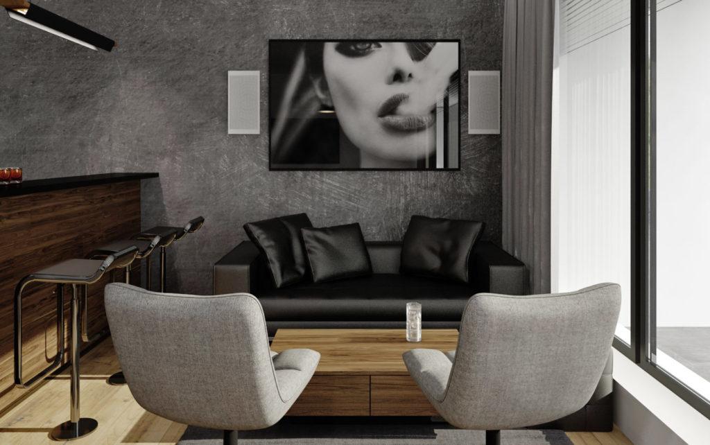 Hobby miestnosť- lounge sedenie pri bare