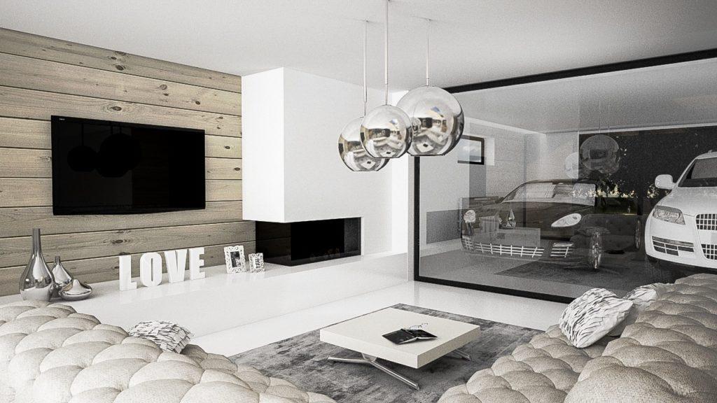Neutrálna nadčasová obývačka s krbom a drevom za televízorom