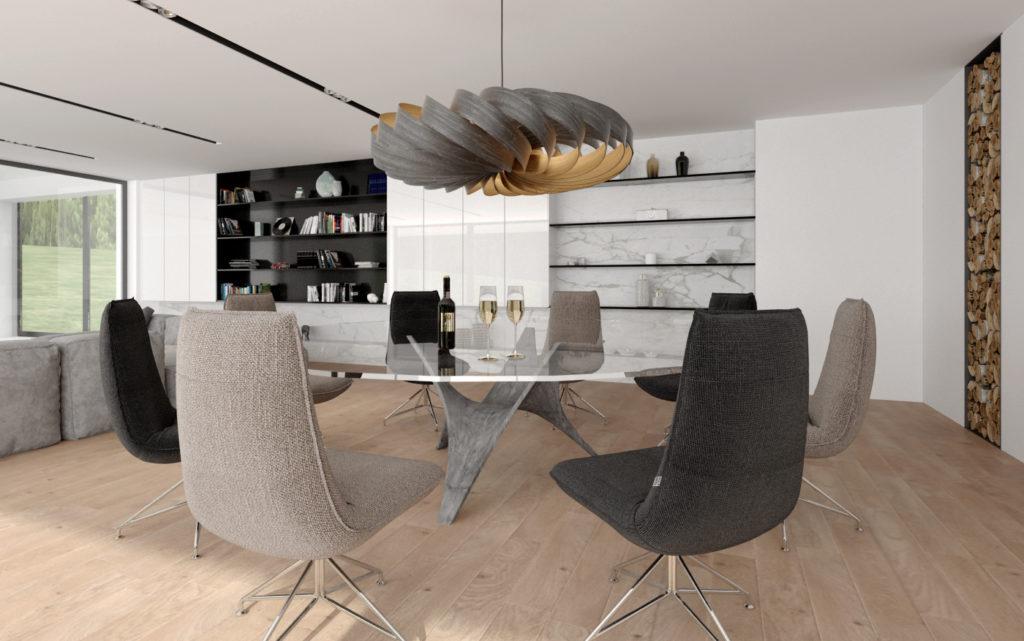 Dizajnový jedálenský kút- kvalitné stoličky, jedinečný stôl a svietidlo na mieru