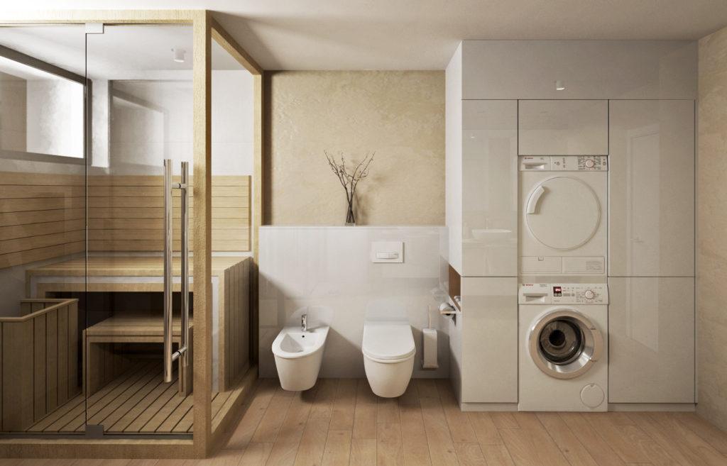 Kúpeľňa rodičov- sauna, WC s bidetom a prací kút s dostatkom úložného priestoru