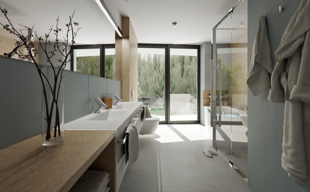 Kúpeľňa na druhom nadzemnom podlaží- jemná a svetlá