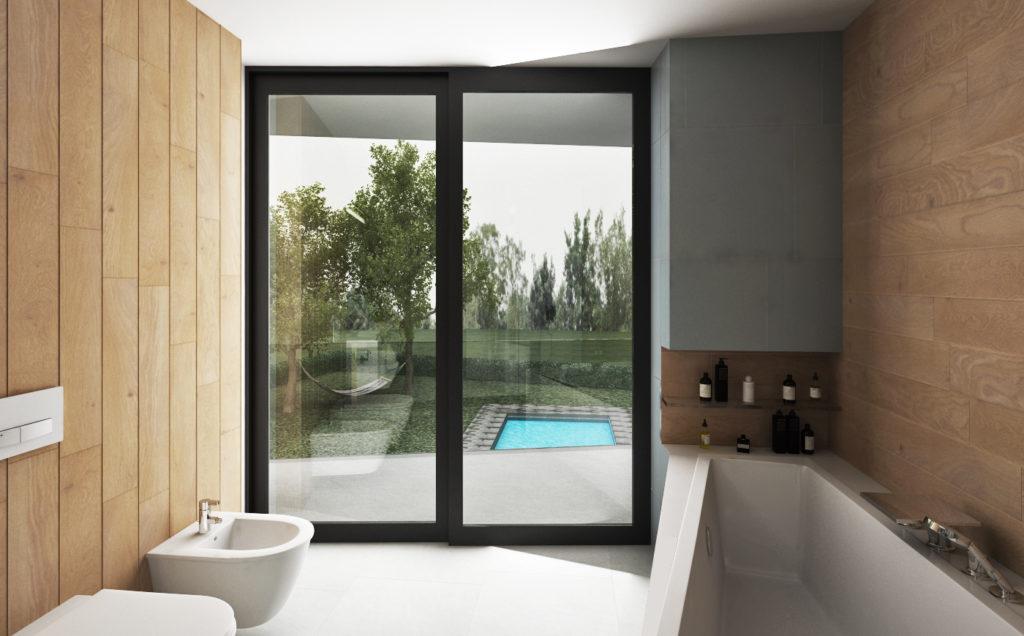 Kúpeľňa na druhom nadzemnom podlaží- kúpeľňa v kontexte s exteriérom