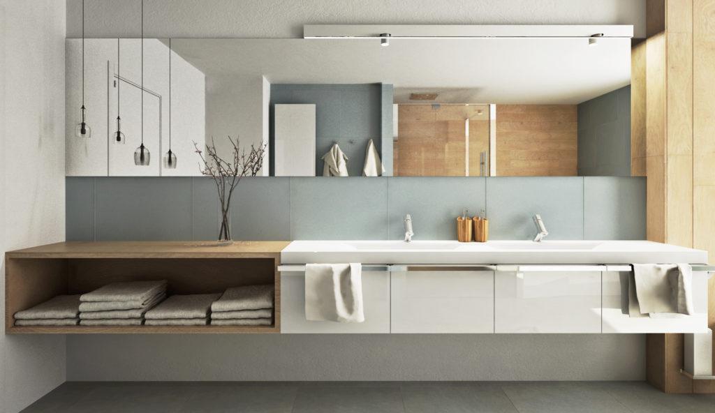 Kúpeľňa na druhom nadzemnom podlaží- skrinka s umývadlami