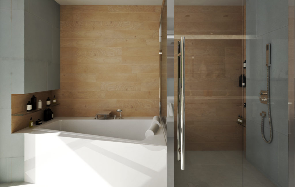 Kúpeľňa na druhom nadzemnom podlaží- vaňa, sprchový kút a úložné priestory