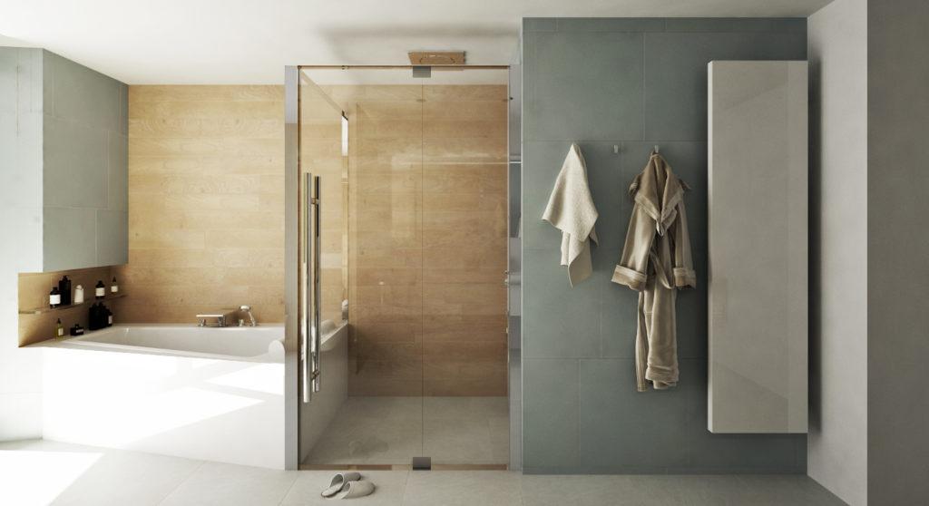 """Kúpeľňa na druhom nadzemnom podlaží- lichobežníková vaňa """"zarovnáva"""" rohy"""