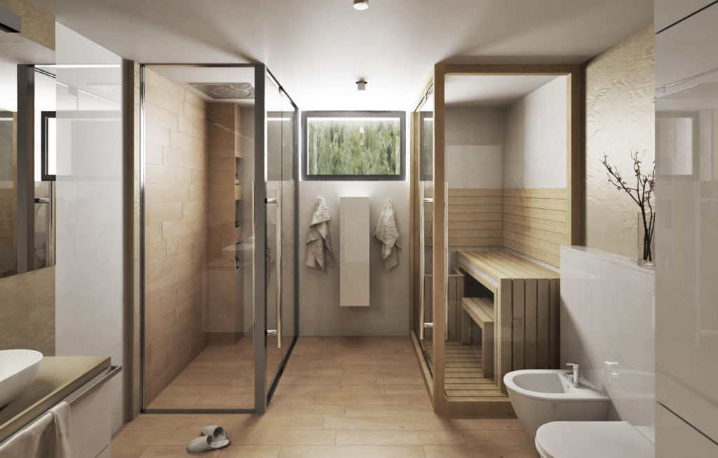 Kúpeľňa-pohľad na sprchu a saunu