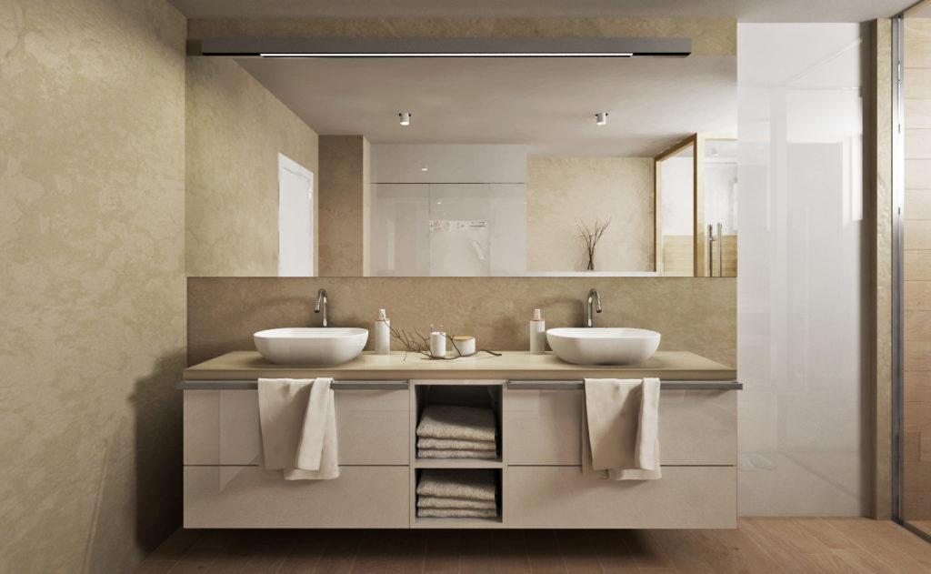 Kúpelňa rodičov- skrinka s umývadlami