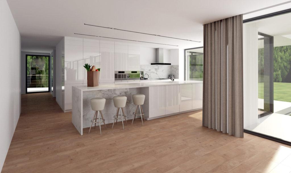 Moderná kuchyňa- biela lesklá s mramorom