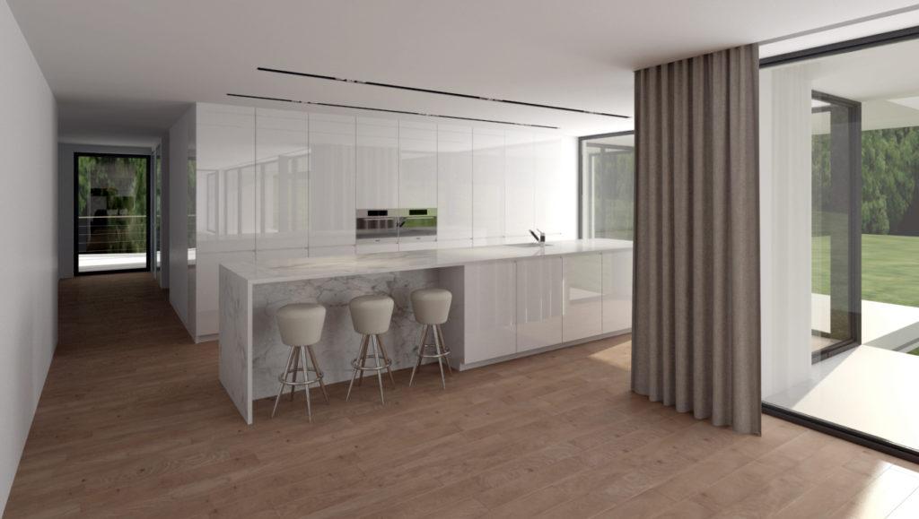 Lesklá biela kuchyňa- zavretá časť špeciálnym systémom