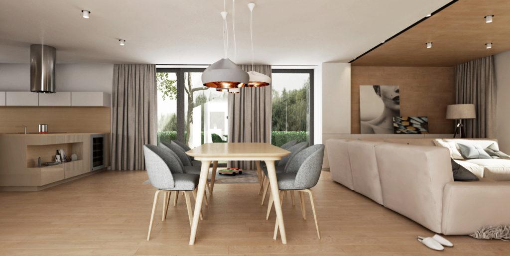 Jedálenský kút- drevený stôl a pohodlné čalúnené stoličky