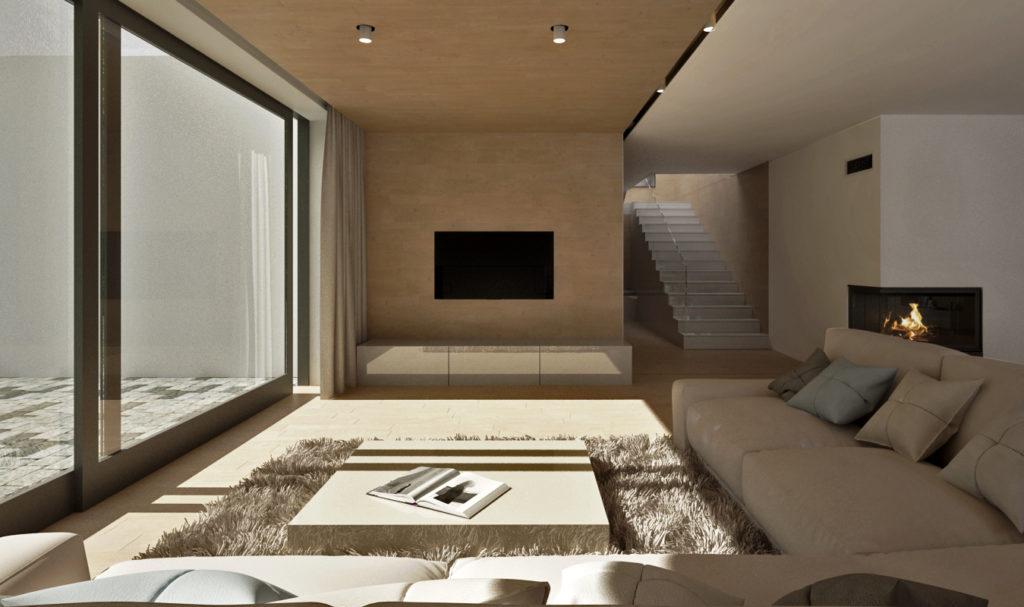 Obývacia izba- TV so skrinkou, rohový krb a schodisko