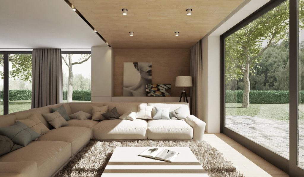 Obývacia izba- komfortná sedačka a drevo aj na strope