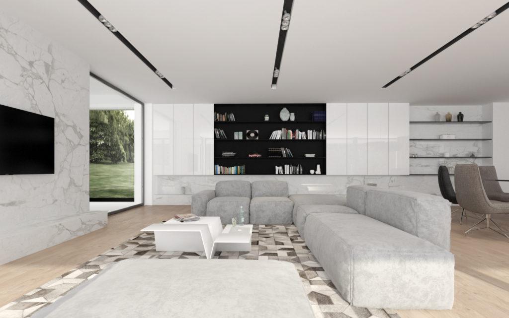Moderná obývačka- elegantná knižnica aj na suveníry