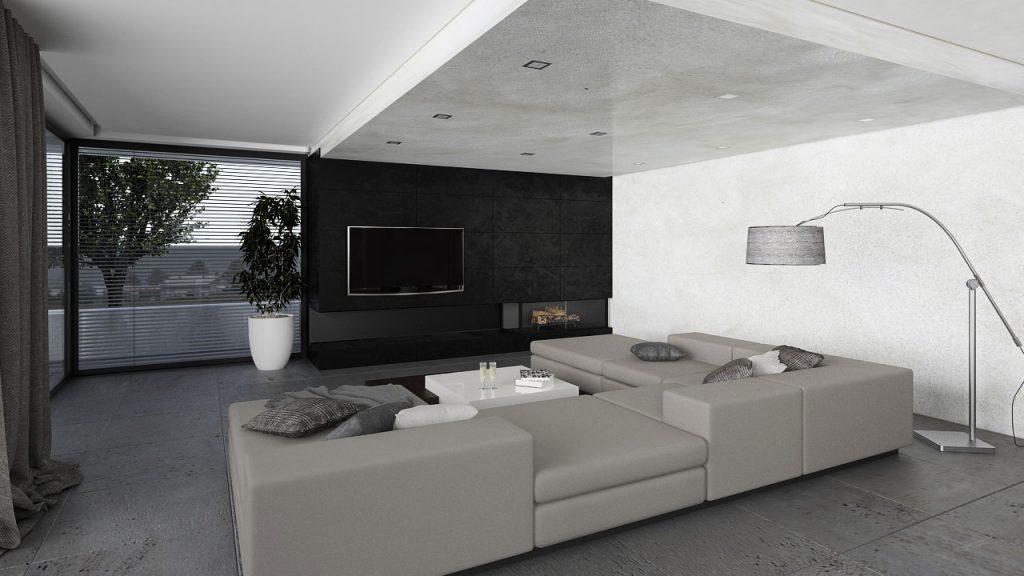 Moderná obývačka v chladných tonoch