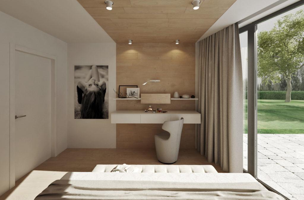 Pohľad na toaletný stolík z postele