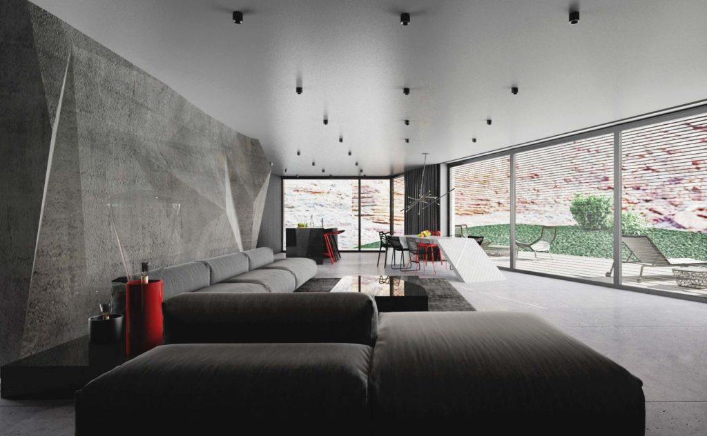 Moderný interiér domu - celkový priestor