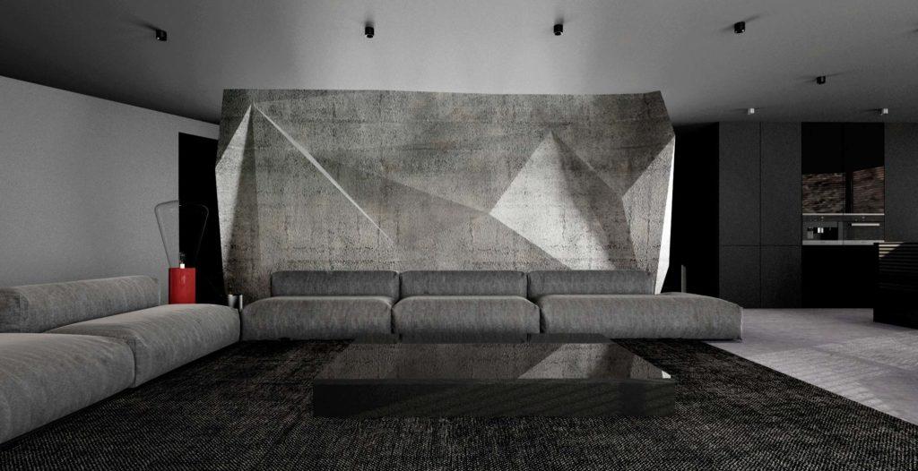 3D betónová obývačková stena