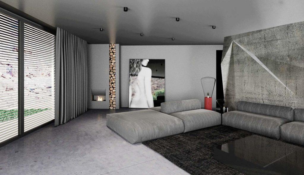 Obývačka- dizajnový krb