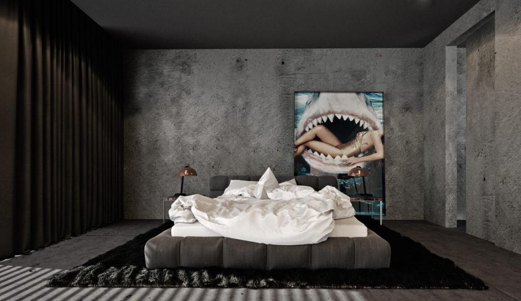 Spálňa- moderná posteľ a betónové omietky