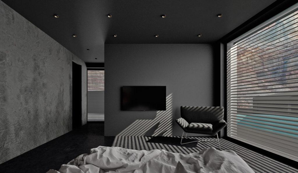 Spálňa- TV stena