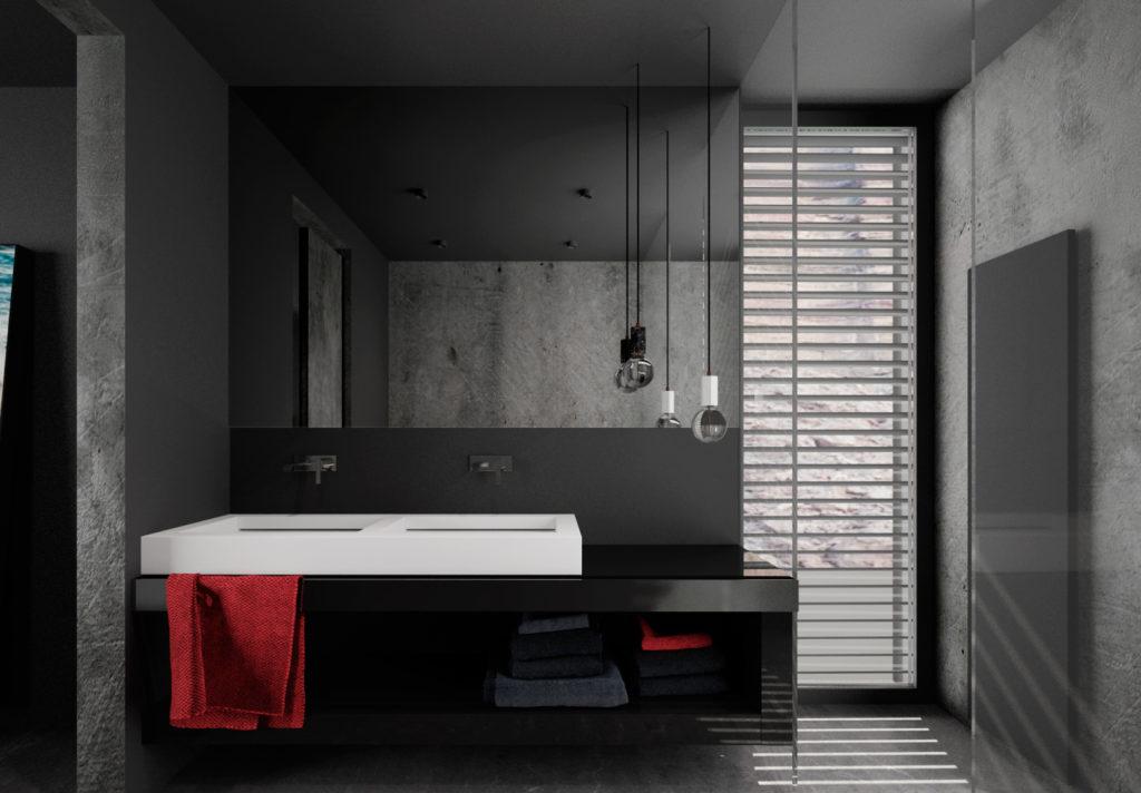 Tmavá moderná kúpelňa- čierne skrinky