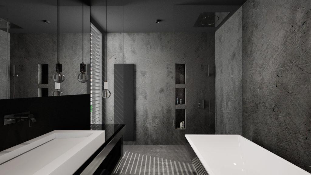 Betónová omietka v kúpelni a nika s poličkami na šampóny