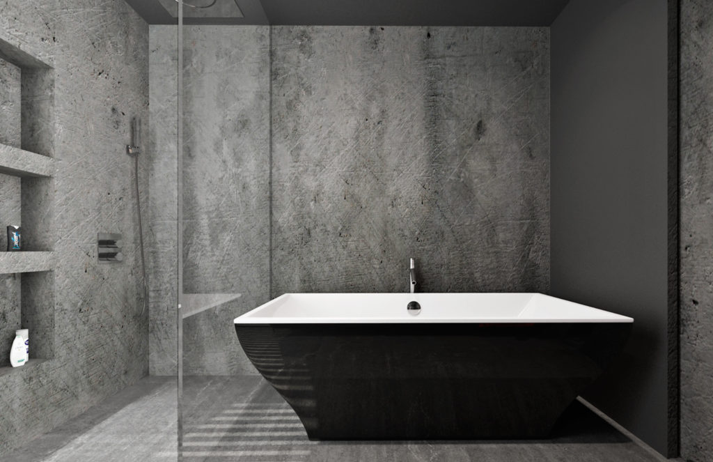 Moderná kúpelňa- čierna vaňa
