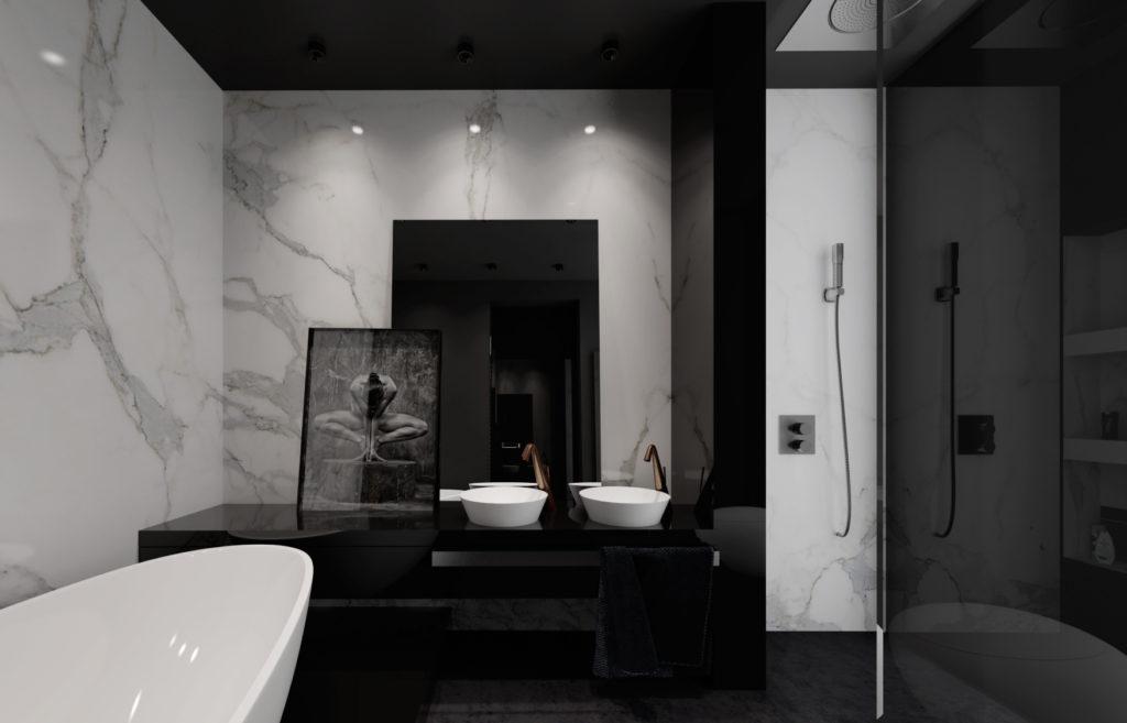 Tmavá kúpelňa s mramorom