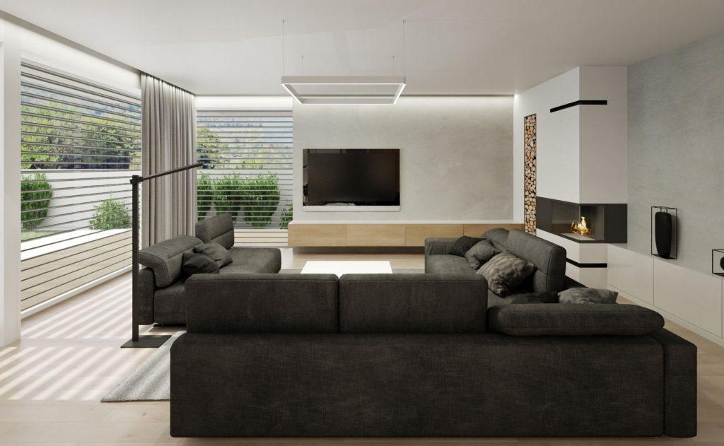 Neutrálna obývačka so zjemňujúcim drevom